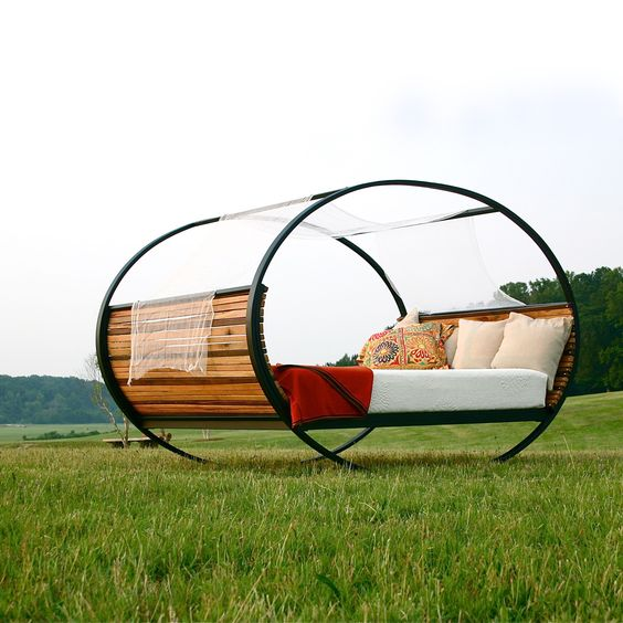 The bed can be used indoor and outdoor. It can be left to rock or freeze at any position with rubber stops (included).