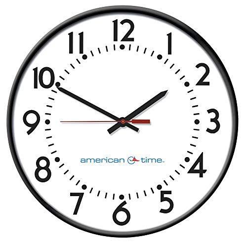 American Time 13 1 4 Round Wall Clock Arabic Black Steel Frame In 2020 Black Steel Frame Wall Clock Digital Round Wall Clocks