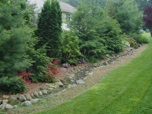 Large berm length of lot line different heights and for Large lot landscaping ideas