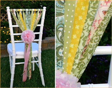 Cut different strips of fabric or use ribbon to stream down the back of chairs.  Use colors and tie to match your theme.