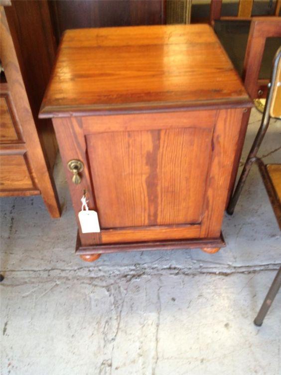 Early 1900'S ONE Door Solid Oregon POT Cupboard Bedside Cabinet   eBay
