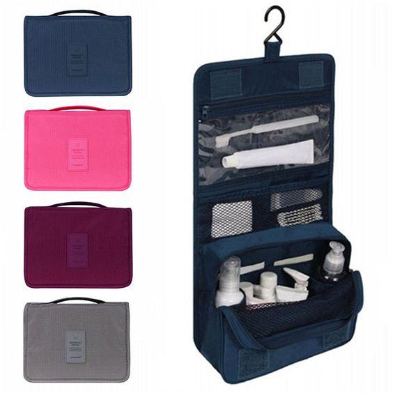 6.12€ Set de viaje de Alta calidad hombre neceser cosmético del organizador portátil a prueba de agua bolsa de lavado Colgante bolsas: