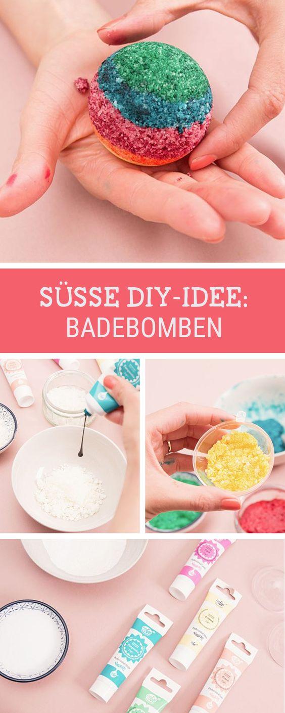 Buntes Beauty-DIY für witzige Badebomben im Regenbogen-Effekt und Glitzer, perfekte Geschenkidee / make your own fancy sparkling bath bombs via DaWanda.com