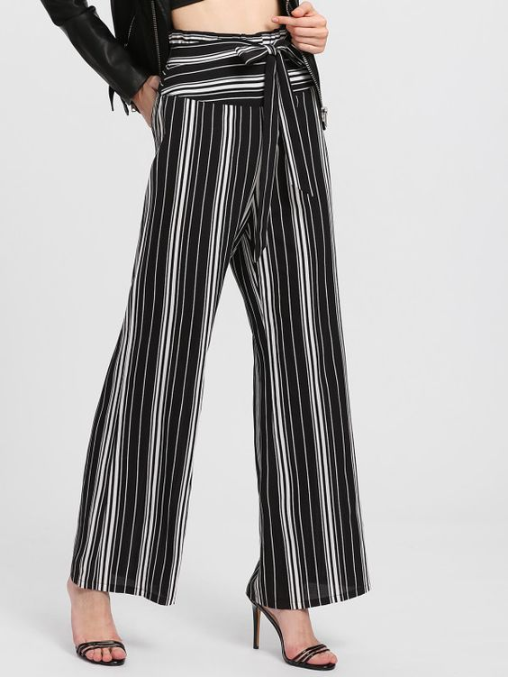 Self Belted Vertical Striped Pants -SheIn(Sheinside)