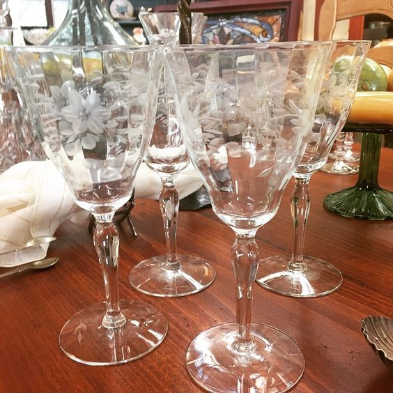 Lighten up your summer entertaining with floral engraved vintage wine glasses.  Great look at a great price.