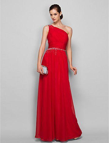 vaina / columna de un hombro vestido de noche de gasa palabra de longitud / prom - EUR € 87.25