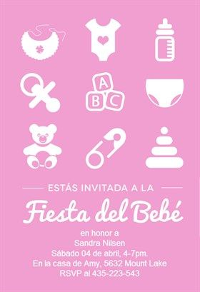 """""""Fiesta Del Bebé Rosa""""  printable invitation template. Customize, add text and photos. Print or download for free!"""