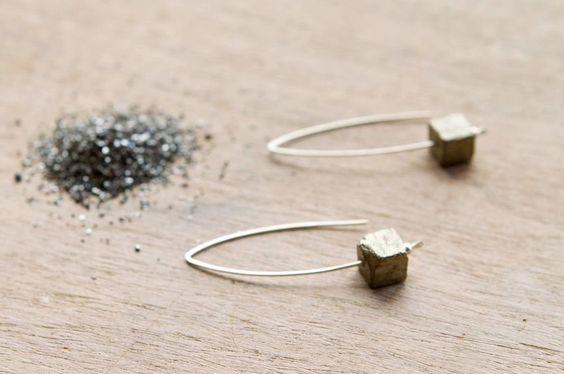 the Pyrite Block earring. via Etsy.