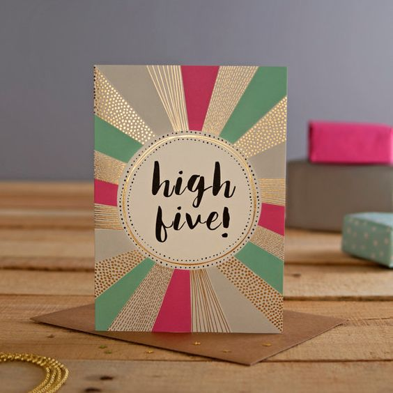 Well Done foiled greeting card. Illustrative stationery, designed and printed in the UK. High Five card, congratulations greeting card