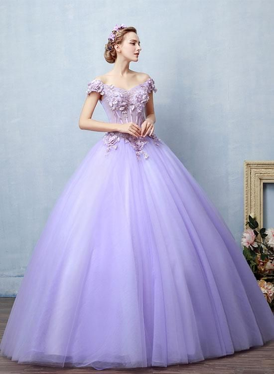Light Purple Tulle Lace Long Prom Dress, Sweet 16 Dress