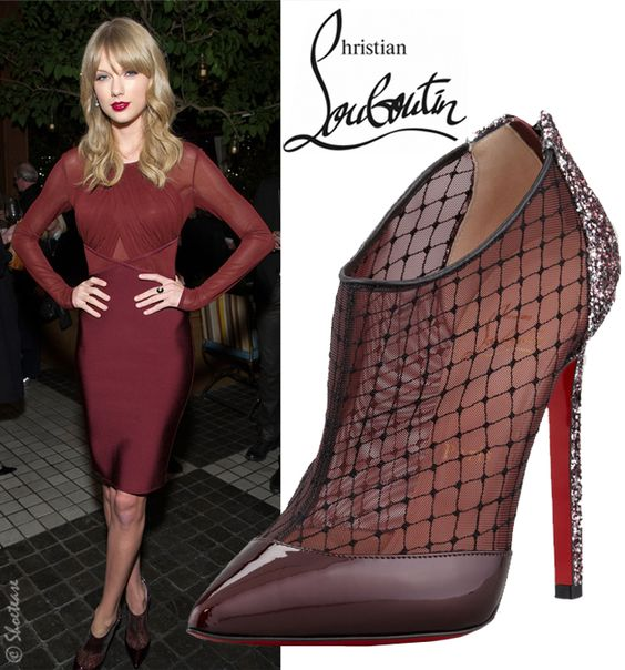 louboutin studded mens shoes - Celebrity Shoe Style: Taylor Swift in Mesh/Patent Christian ...