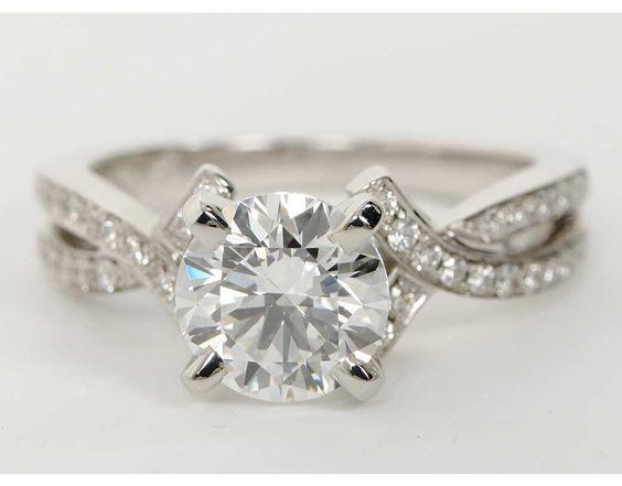 Intertwined Pavé Diamond Engagement Ring