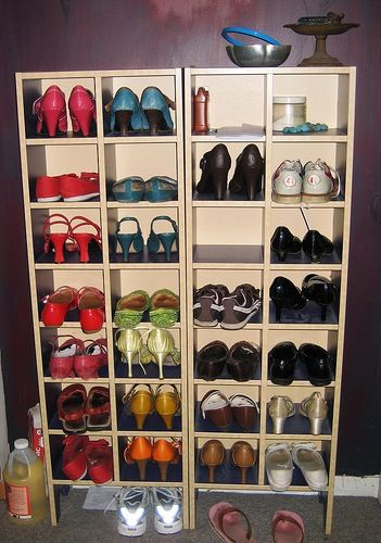 Ikea CD racks used for storing shoes!: Organize Closet, Closet Organization, Storage Idea, Shoe Storage, Closet Storage, Cd Racks