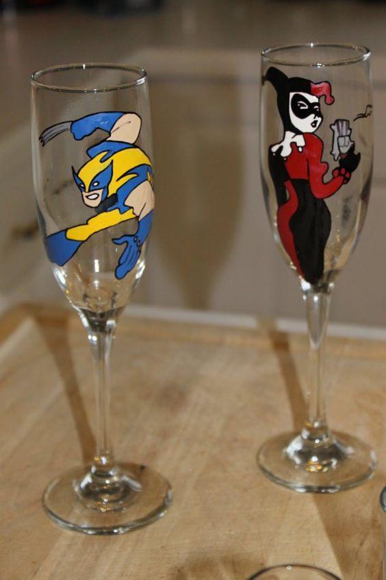 Comic Toasting Glasses - Geek Decor