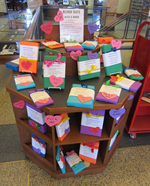 Come in and browse our brand new Blind Date with a Book display! This one is adult titles, but teen books will be on the way soon. • Take a chance! • Check out a book just based on it's profile, and...: