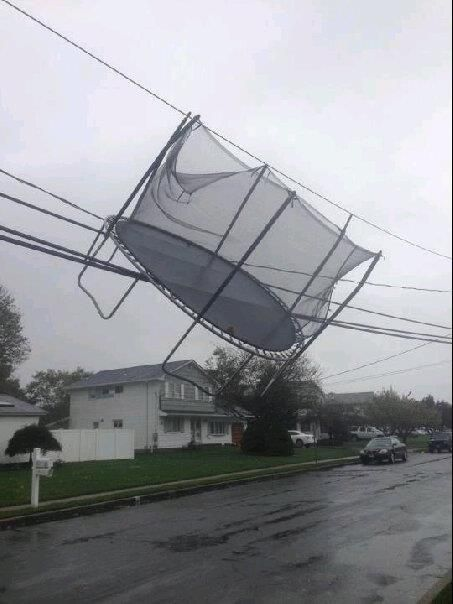 Yikes! A flying trampoline somewhere in NJ...