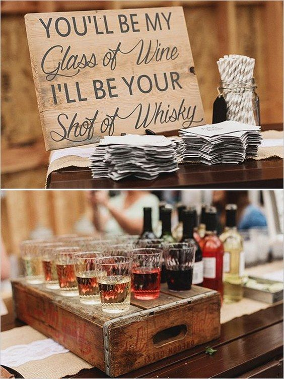 rustic country wedding bar details