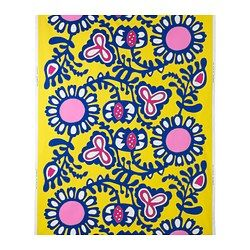 """FÄRGKULLA fabric, blue/pink, floral patterned yellow Width: 59 """" Pattern repeat: 36 """" Width: 150 cm Pattern repeat: 92 cm"""
