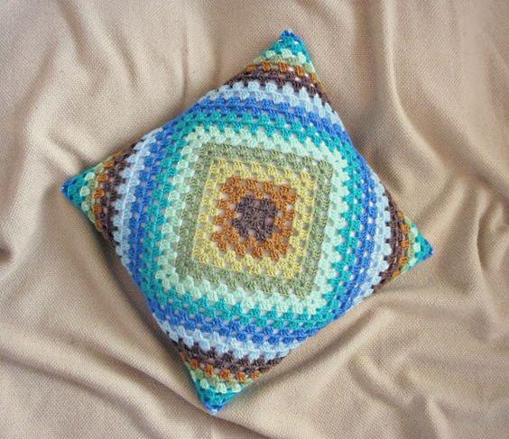 granny square crochet pillow