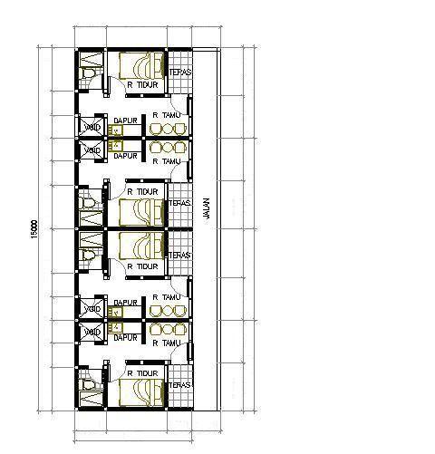 Gambar Denah Rumah Petak 3 | Denah Rumah, Rumah, Denah Lantai Rumah