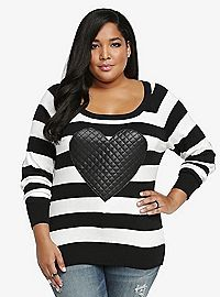 TORRID.COM - Faux Leather Heart Sweatshirt