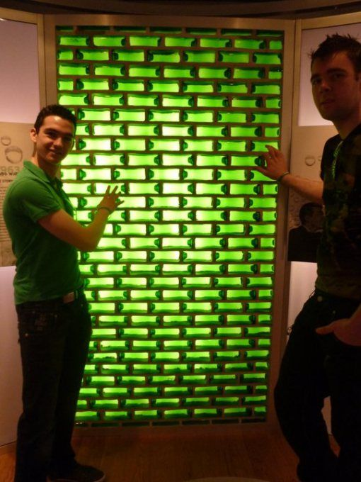 Glass Bottle Walls made of beer bottles that are also bricks!  Drink & build!
