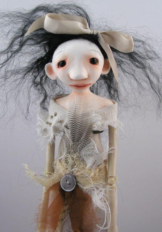 RESERVED FOR MARTA  Folk Art Doll Cloth Clay by CindyRiccardelli, $110.00