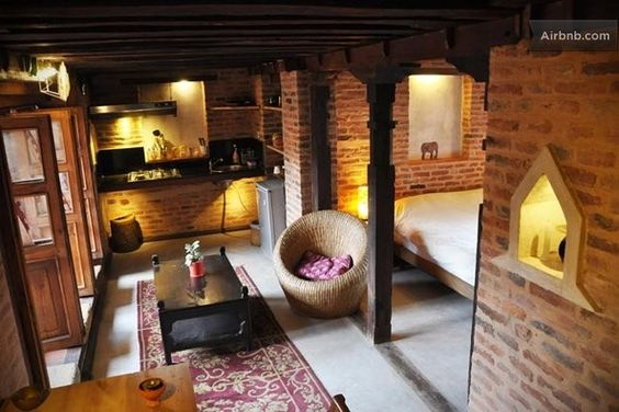 Flat in renovated old newari house airbnb home ideas pinterest flats and house for Interior design of house in nepal