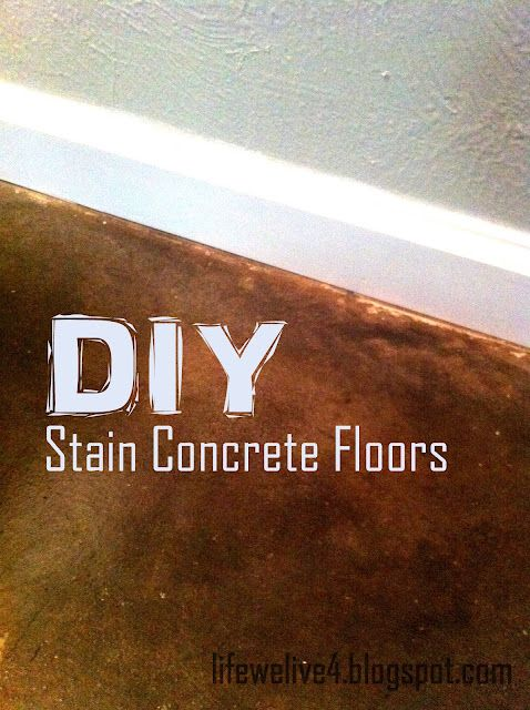 Diy how to stain concrete floors we used our existing for Cheap and easy flooring