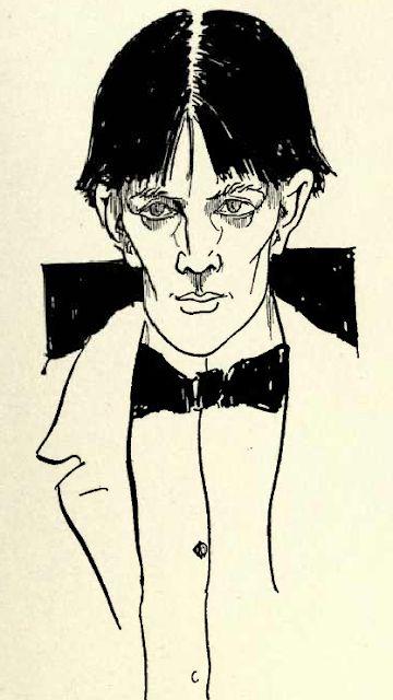 Aubrey Beardsley; 1892 Self-Portrait,  pen and wash, 25 x 9.5 cm