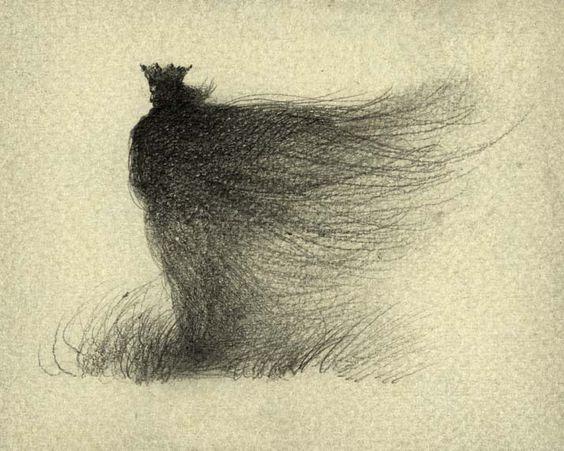 Yaroslav Gerzhedovich: King, Pencil on Paper.