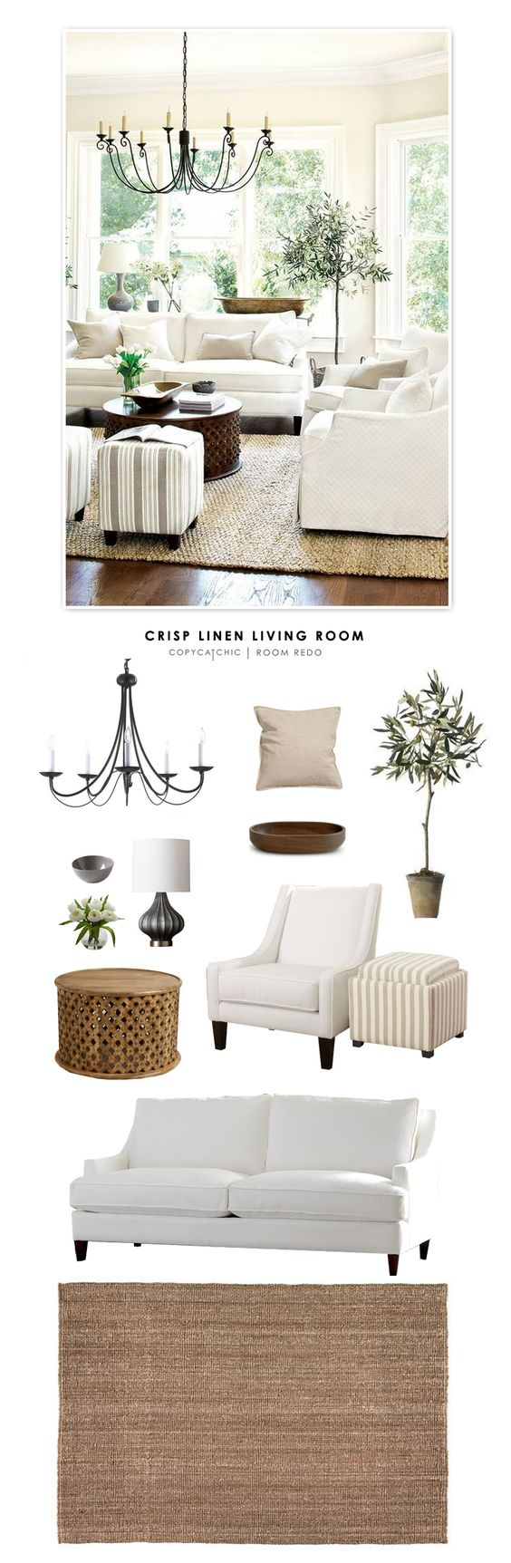TOTAL | $2,960    SOFA $1,141 | ACCENT CHAIRS $434 (EA) | OTTOMAN $151 (EA) | COFFEE TABLE $200 | RUG $140 | CHANDELIER $87 | PILLOWS $10 (EA) | WOOD BOWL $50 | LAMP $40 | TULIPS $48 | FAUX OLIVE TREE