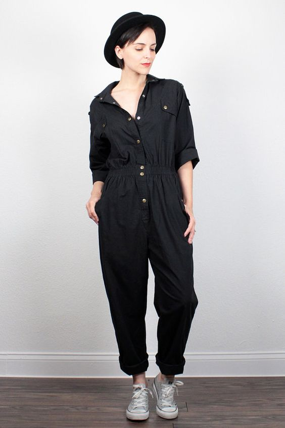 Vintage 80s Jumpsuit Slouchy Black Jumpsuit 1980s Jumpsuit Work Uniform Overalls…: