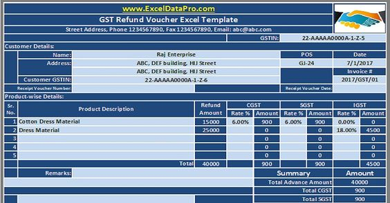 Download GST Refund Voucher Excel Template For Refunding Advance - download salary slip