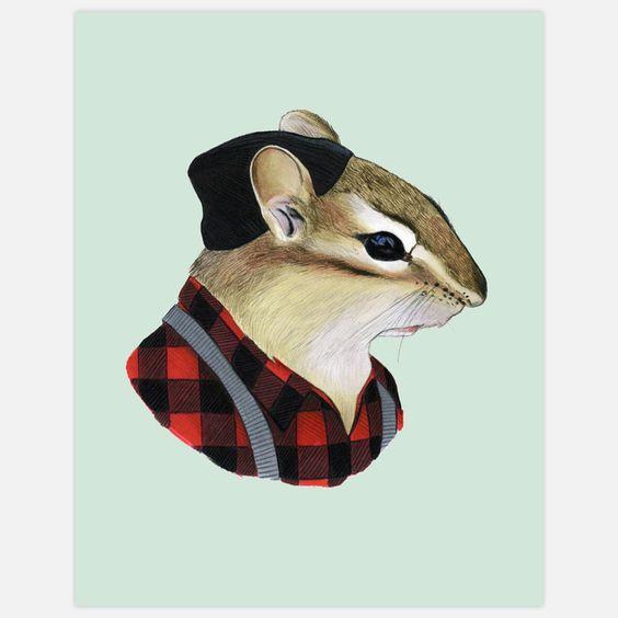 chipmunk lumberjack print/fondo -personaje recortado