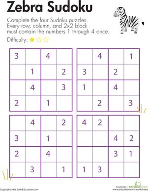 Printables Sudoku Worksheets puzzles worksheets and zebras on pinterest second grade sudoku zebra sudoku