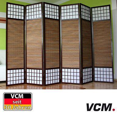 """VCM 6-fach Paravent """"PA191 Bambus"""", Raumteiler"""