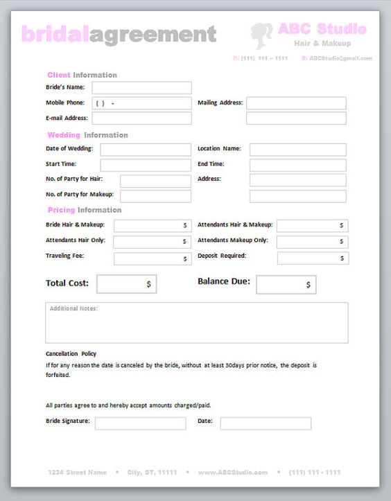 0 hours contract template - freelance hair stylist makeup artist bridal agreement