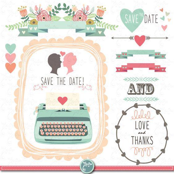 """My Wedding Invite Clip Art At Clker Com: Wedding Clipart Pack """"WEDDING CLIP ART"""" Pack Vintage"""