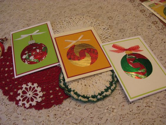 Handmade Ornament Card Set by TwoMileCards on Etsy, $10.00