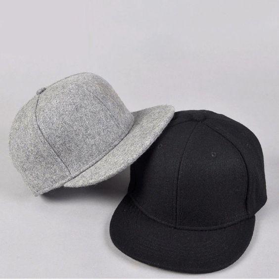 Black gray wool Snapback Baseball Hat Cap Plain Basic Blank Flat Bill Visor