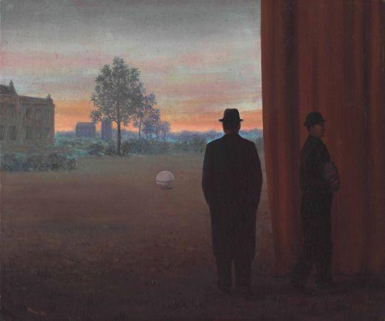 René Magritte (Belgian, 1898-1967), A la rencontre du plaisir [Towards Pleasure], 1950. Oil on canvas, 50 x 60 cm.