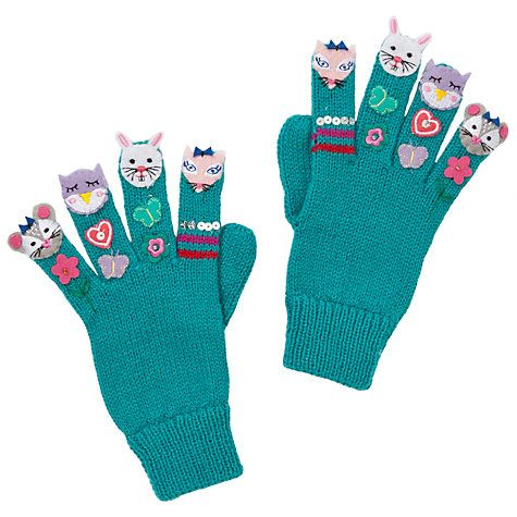 Buy John Lewis Girl Woodland Novelty Gloves, Aqua Online at johnlewis.com