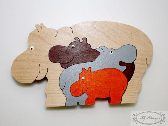 Puzzle en bois, hippopotame, famille, nature, jouet enfant, cadeau Noël