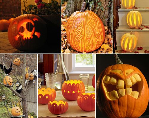 hgtv pumpkin ideas - LOVE the teeth and face on the bottom right image! #halloween #pumpkin