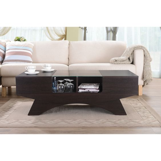 Wooden Design Dark Wooden Coffee Table Design With A
