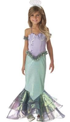 Girls Size 4 Magical Mermaid Halloween Costume. Sequin-trimmed gown with iridescent organza fin and shell bodice detail, ruffled arm bands and sequined mermaid headpiece.  Packaged in a kid-size zippered garment bag with color photo insert.  Fits girls size 4.  InCharacter   $66.00