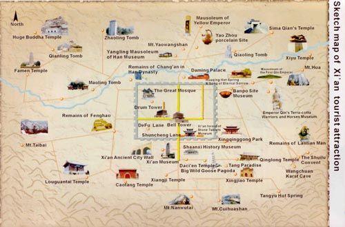 xian in china map Xian Tourist Map Showing Also Sightseeing Sites Around Xian City xian in china map