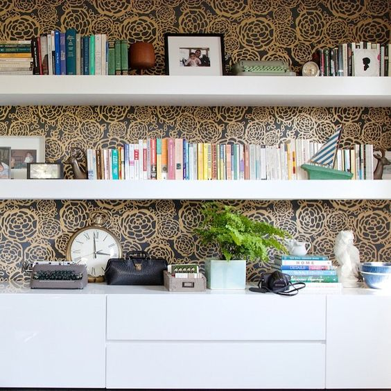 An office shelfie ... From some monumentally cool people's house we designed a few years ago. Hashtag your styled shelves, folks. We'll post the favorites. #showemyourshelfie