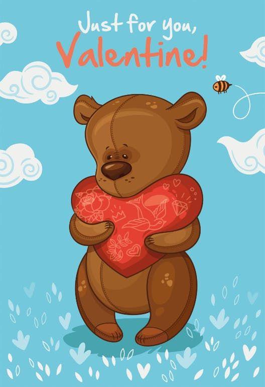 Bear Hug Valentine S Day Card Free Greetings Island Happy Valentine S Day Friend Valentines Greetings For Friends Happy Valentines Day Images